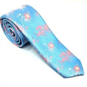 Krawaty Elegancki Krawat Niebieski Pudrowe Kwiatki