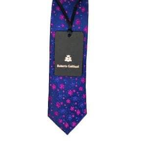 Krawaty Elegancki Krawat Granatowy Różowe Kwiatuszki
