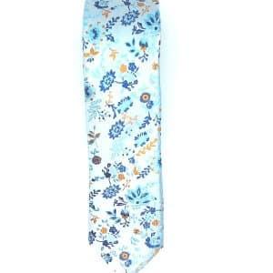 Krawaty Elegancki Krawat jasno niebieski w kwiatuszki