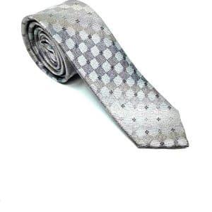 Krawaty Elegancki Krawat Szary Kwadraciki