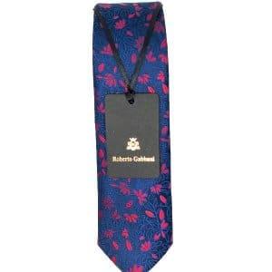 Krawaty Elegancki Krawat Granatowy Czerwone Listki
