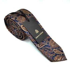 Krawaty Elegancki Krawat Brązowo Granatowy