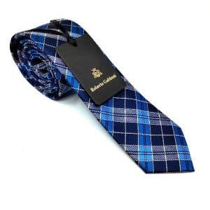 Krawaty Elegancki Krawat Niebieska Krata