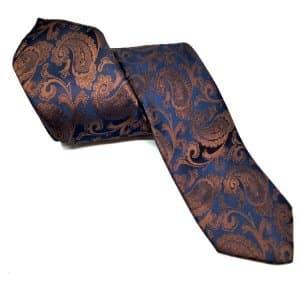 Krawaty Elegancki Krawat Ślubny z Poszetką Granatowy Brązowy Wzór
