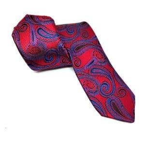Krawaty Elegancki Krawat Ślubny z Poszetką Czerwony Szafirowy Wzór