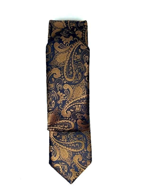 Krawaty Krawat Ślubny z Poszetką Granat i złoto