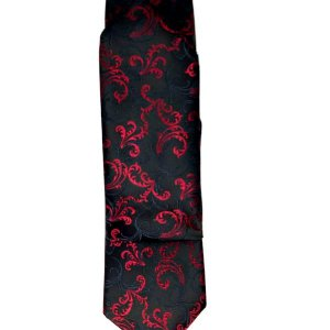 Krawaty Elegancki Krawat Ślubny z Poszetką Czarny Czerwony Wzór