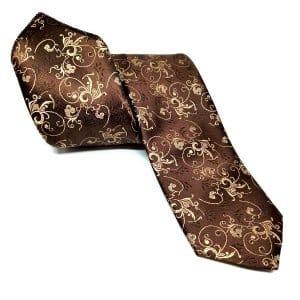 Krawaty Krawat Ślubny z Poszetką Brązowy
