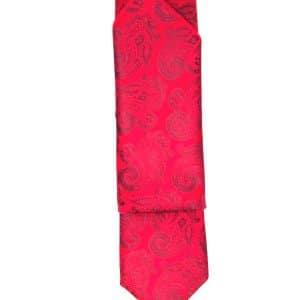 Krawaty Elegancki Krawat Ślubny z Poszetką Czerwony Wzór