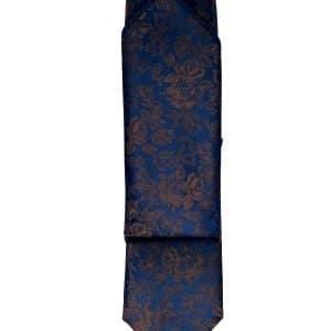 Krawaty Krawat Ślubny z Poszetką Granatowy w brązowy wzór