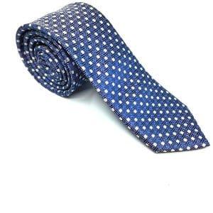 Krawaty Elegancki Krawat Granat Białe Kropki