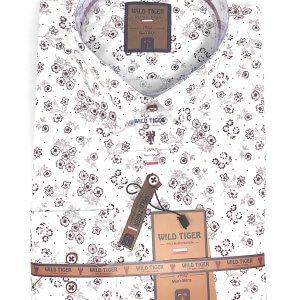 Koszule długi rękaw Koszula Męska Bordowe Kwiatki
