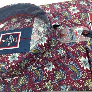 Koszule długi rękaw Koszula Męska Bordowa Paisley