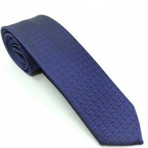 Krawaty Elegancki Krawat Granatowy w kratke