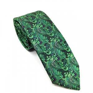 Krawaty Elegancki Krawat Czarny Zielony Wzór