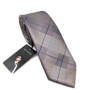 Krawaty Elegancki Krawat Beżowy w granatową kratę