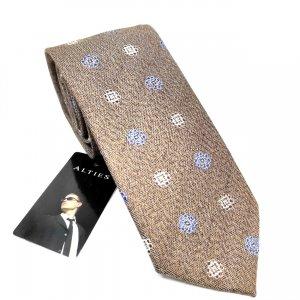 Krawaty Elegancki Krawat Jasny Brąz w kwiatki
