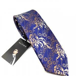 Krawaty Elegancki Krawat Granatowy w brązowy wzór