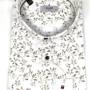 KOSZULE KRÓTKI RĘKAW Koszula Biała w Brązowe Liście