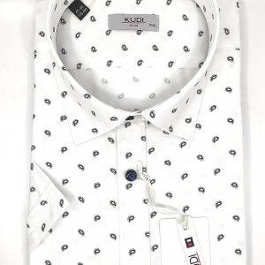 KOSZULE KRÓTKI RĘKAW Koszula Biała w Łezki