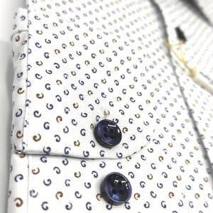 Koszule długi rękaw Koszula Kudi Royal Biała Wzór