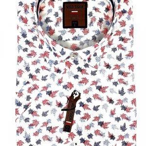 KOSZULE KRÓTKI RĘKAW Koszula w Czerwono Granatowe Liście