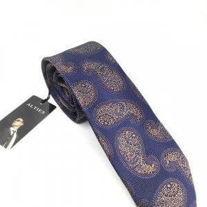 Krawaty Elegancki Krawat Granatowy Wzór Turecki