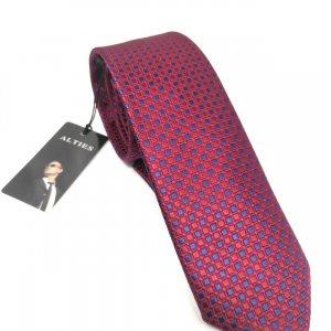 Krawaty Elegancki Krawat Bordowo Granatowy Kwadraty