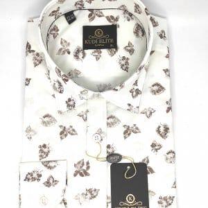Koszule długi rękaw Koszula Kudi Brązowe Liście