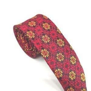 Krawaty Elegancki Krawat Żółte kwiatki