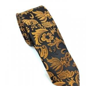 Krawaty Elegancki Krawat Miedziane Kwiaty
