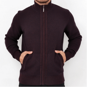 Swetry Sweter na zamek bordowy