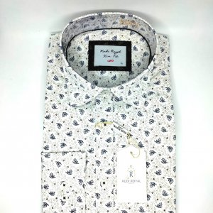 Koszule długi rękaw Koszula Kudi Royal Kółka-Liście