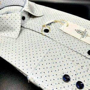 Koszule długi rękaw Koszula Kudi Royal Kropki granatowo-niebieskie